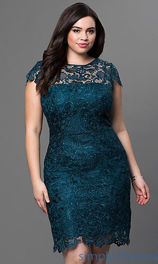 3078f1a36e252 Plus-Size Short Lace Party Dress with Sleeves | Full Figure Fashion ...
