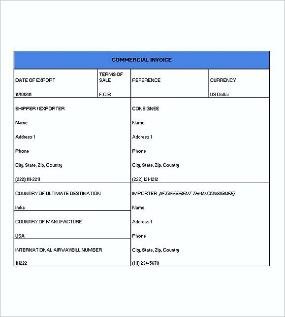 Commercial Invoice Template Excel , Commercial Invoice Template - sample spreadsheet