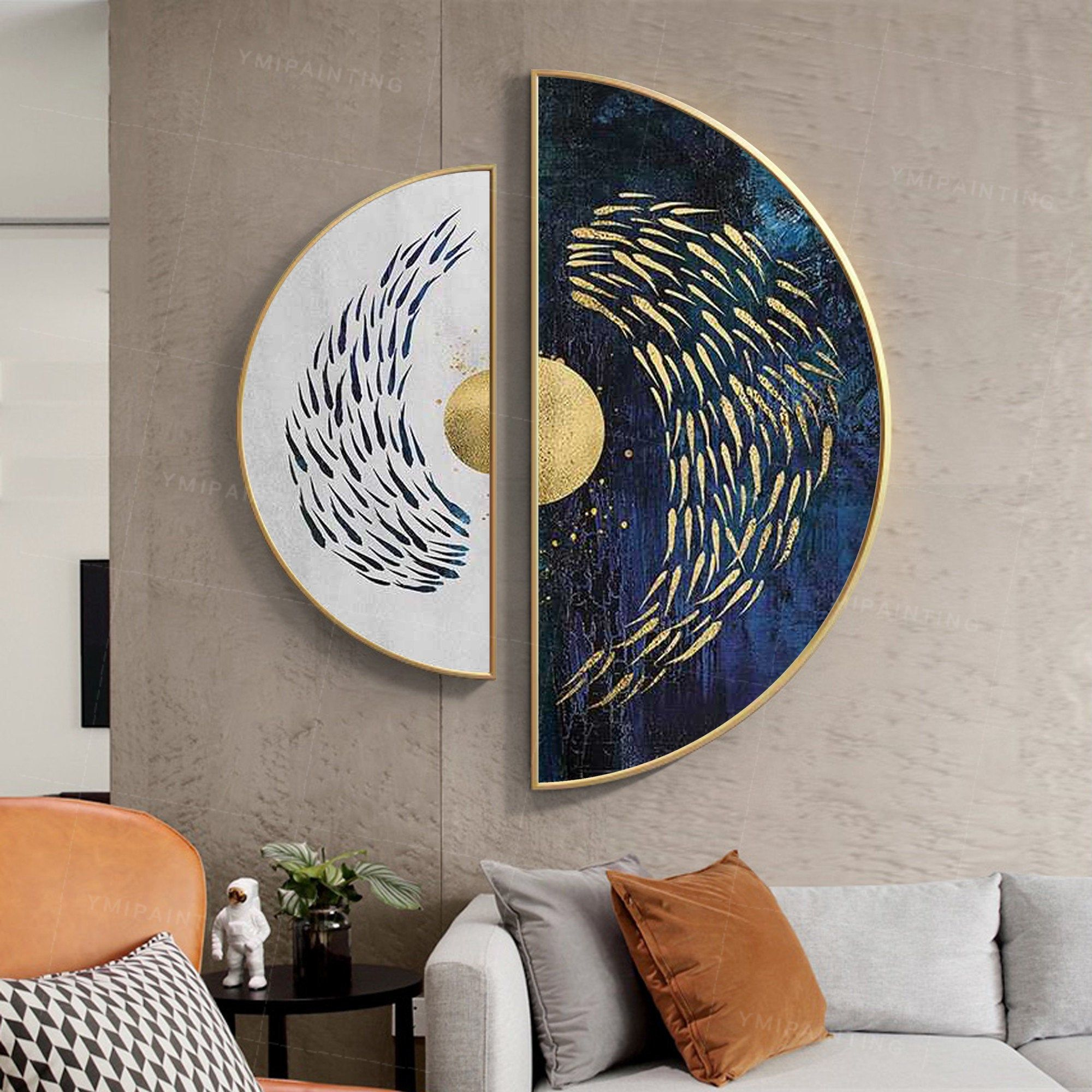 Framed Wall Art Gold Art Set Of 2 Wall Art Sea Navy Blue Etsy Abstract Wall Art Living Room Contemporary Wall Art Wall Art Living Room
