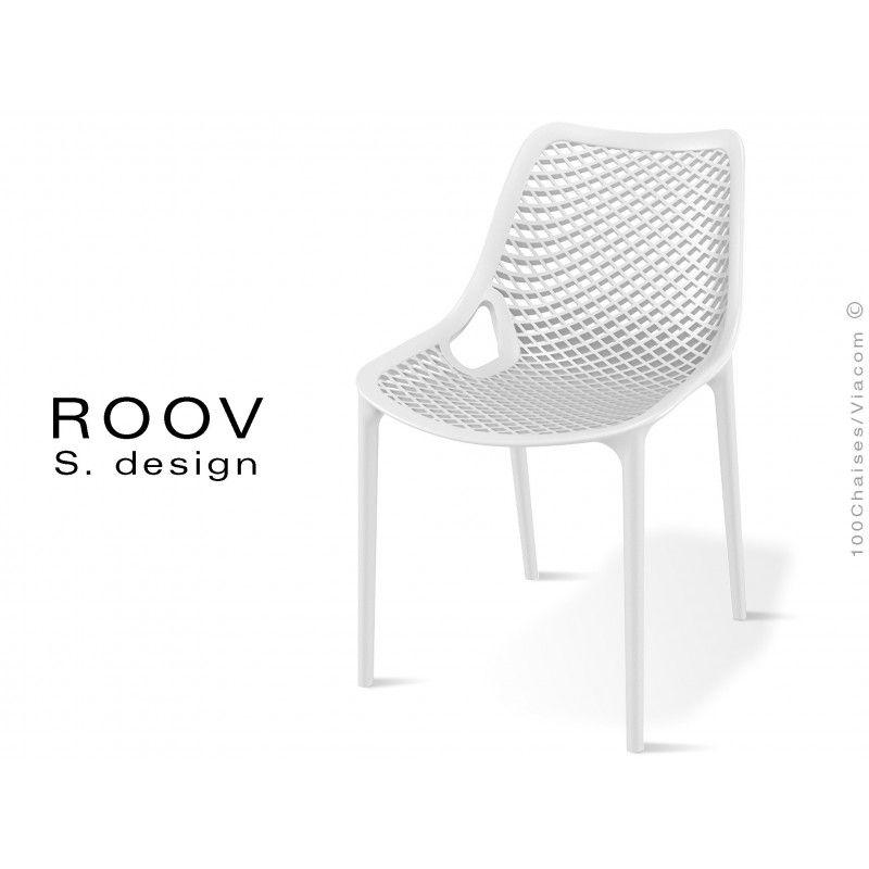 Chaise ROOV Plastique Pour Extrieur Bar Restaurant Jardin Couleur Blanche