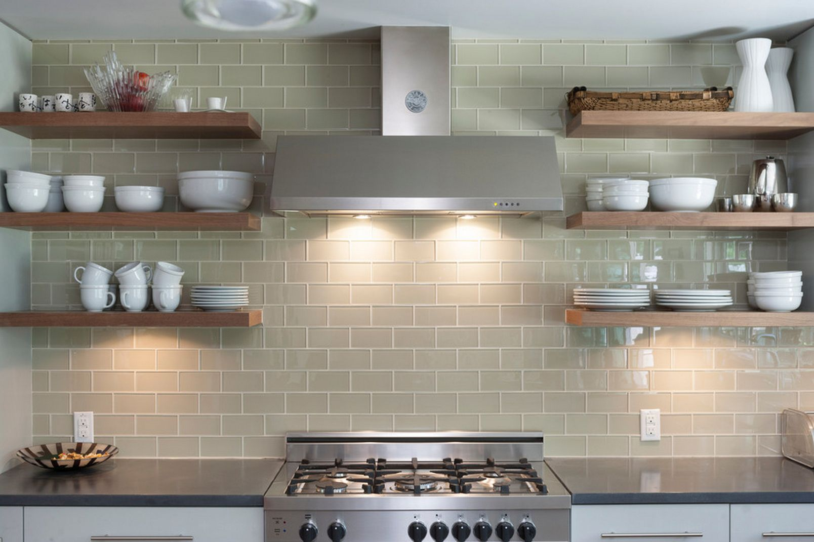 Open Shelving On Glass Tile Kitchen Wall Open Kitchen Shelves