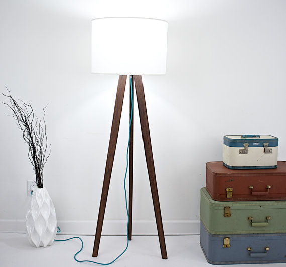 Midcentury modern inspired walnut tripod floor lamp tripod lamp tripod light teal cord modern tripod lamp