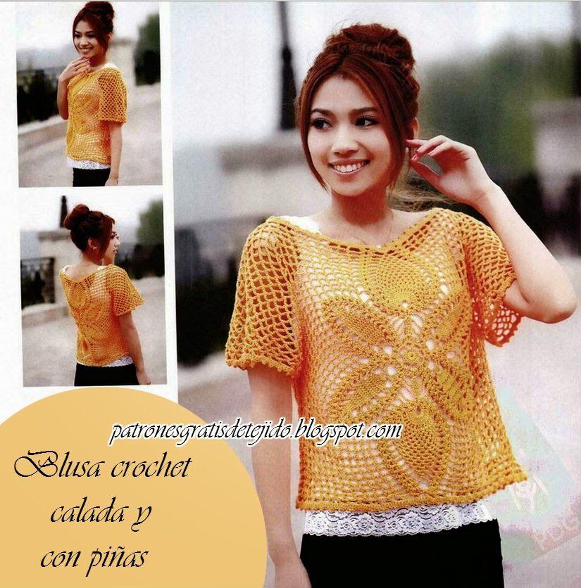 Patrones blusa crochet dama mangas cortas | vestidos a crochet og ...