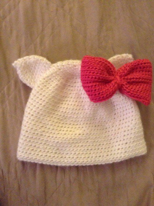 This Hello Kitty Hat Was Crocheted Using The Single Cat Ear Pattern