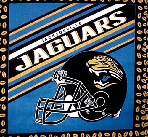 NFL Football Jacksonville Jaguars Helmet Cotton Fabric Pillow Panel