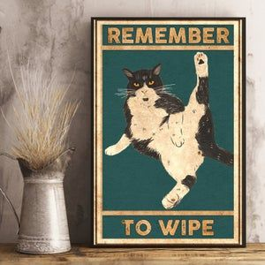 Remember to Wipe poster - Black cat, Bathroom Funn