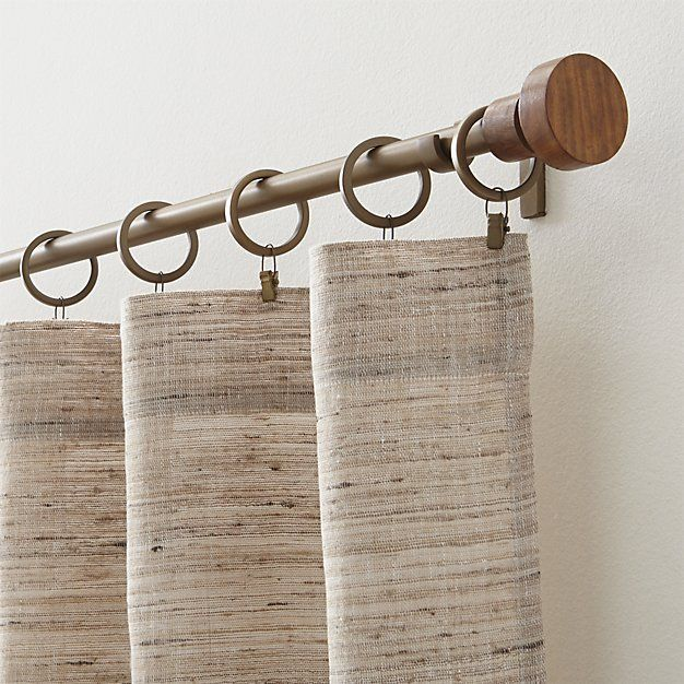 Copenhagen Brass 75 Dia X88 120 Curtain Rod With Wood Finials