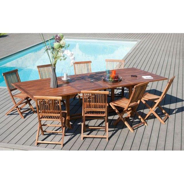 Salon de jardin en Teck massif huilé Table extensible 200 ...