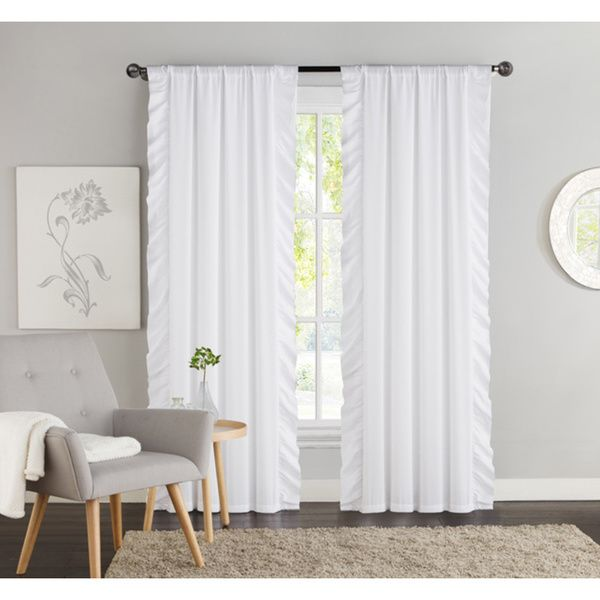 Vcny Amber Side Ruffle Black Out 84 Inch Curtain Panel Pair