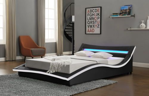 New Modern Designer Bed Led Light Headboard Double King Size Cheap White Black Bed Design Headboard With Lights Leather Bed Frame