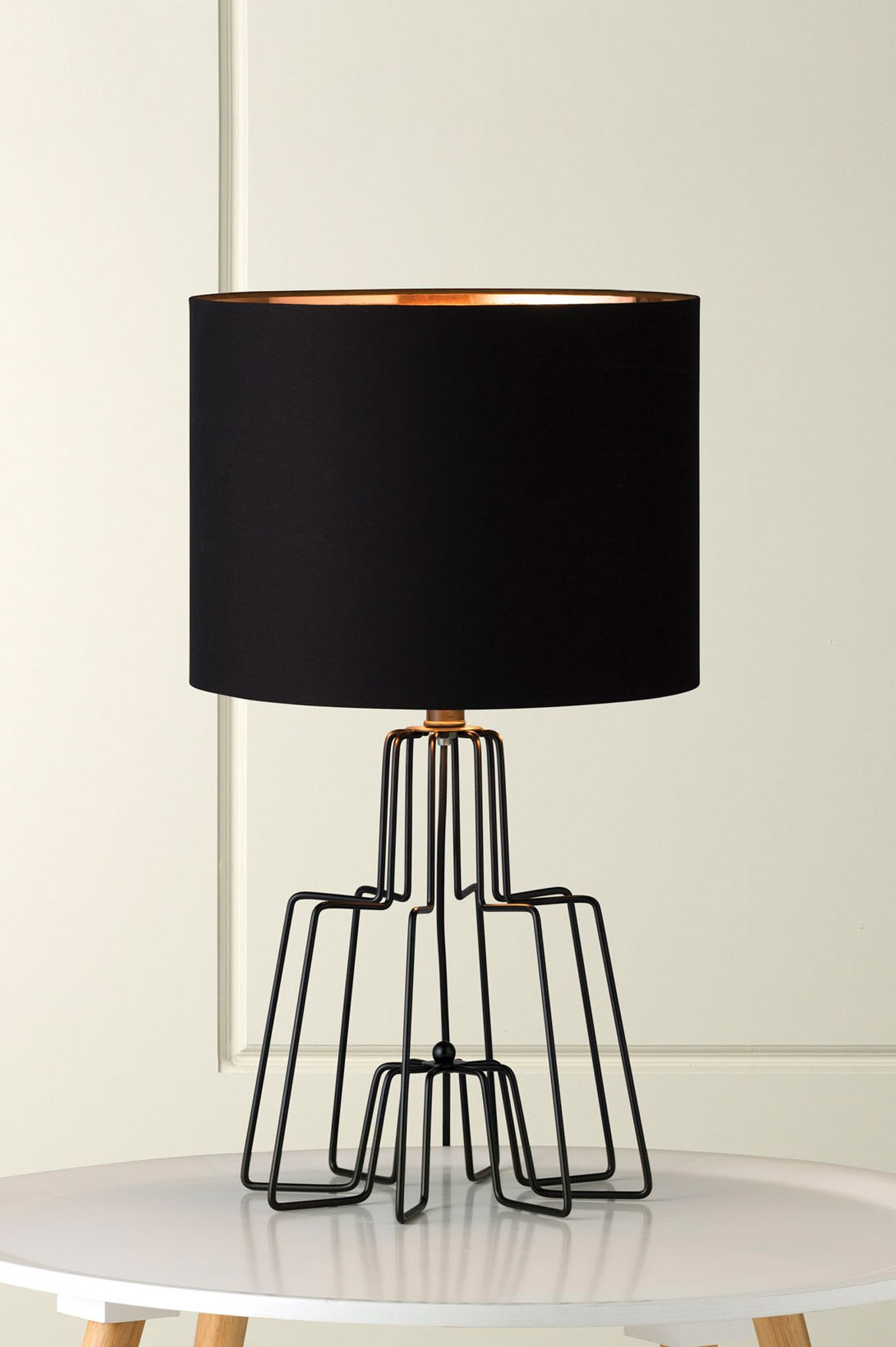 1130 Kink Black Wire Table Lamp With Black Shade And Copper Foil