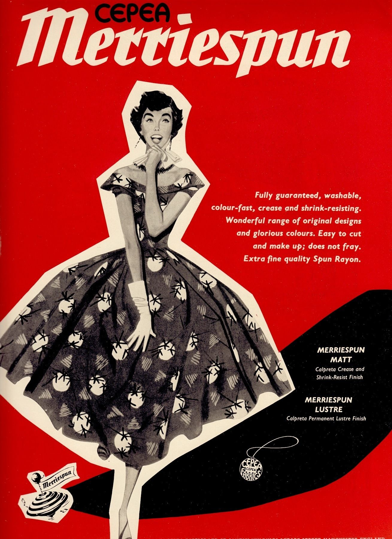 MERRISPUN fabric ad. From The Ambassador UK Export mag for the textile industry #10 1958. (minkshmink collection)