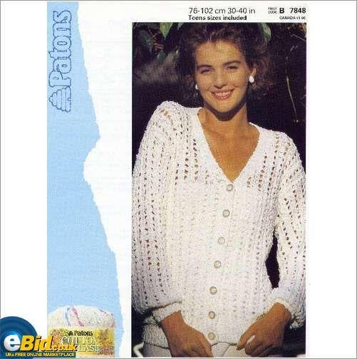 Ladies cotton cardigan / sweater knitting pattern womens Patons ...