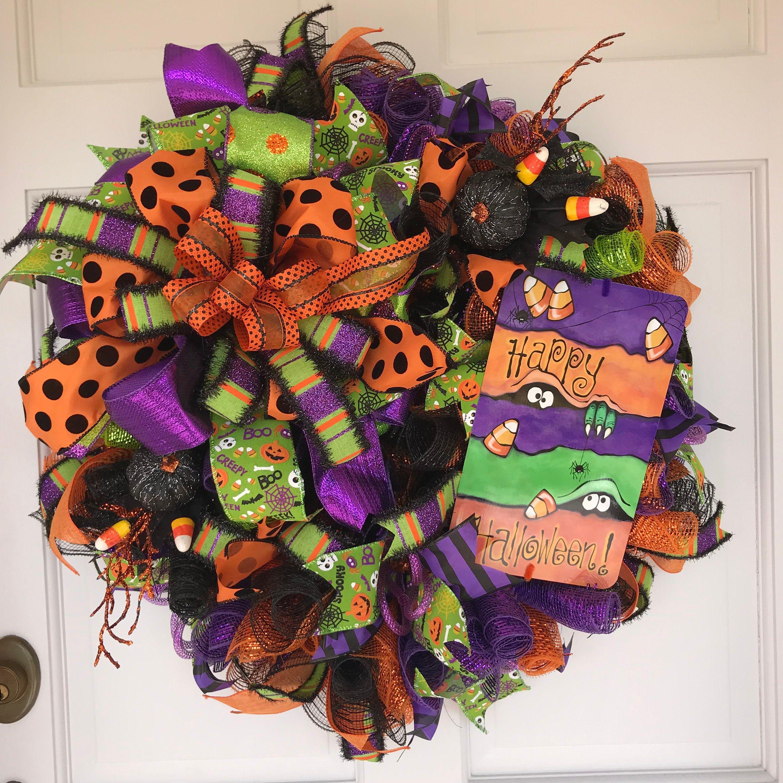 Halloween Wreath Happy Halloween Trick Or Treat Decor Etsy In 2020 Halloween Door Decorations Halloween Front Doors Halloween Signs
