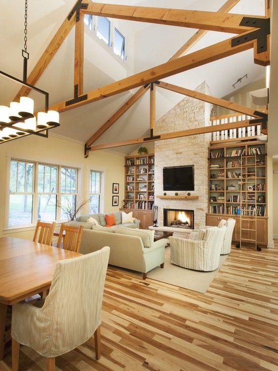 Living Room Fireplace Bookshelves Vaulted Ceilings Design ...