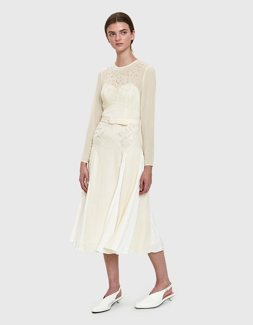 213fb01e51 Ivory Embroidered Midi Dress | S/S 2018 | Dresses, White dress, Outfits