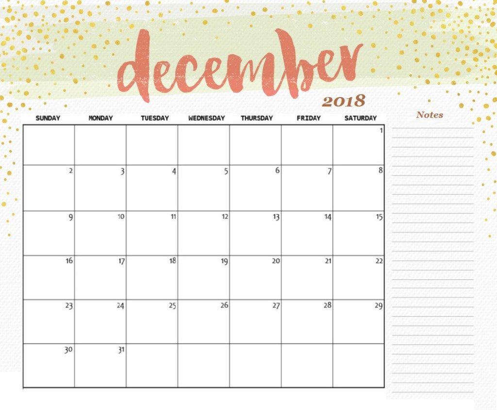 December 2018 Calendar Fillable December 2018 Calendar Free