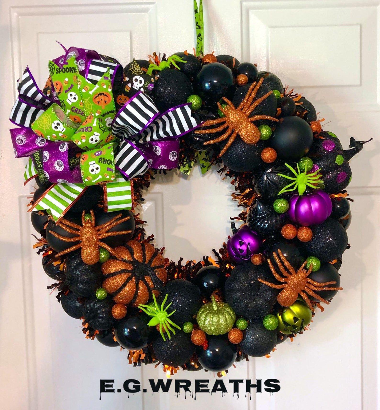 Halloween Ornament Wreath Ornament Wreath Halloween Etsy Halloween Ornament Wreath Handmade Halloween Decorations Wreaths