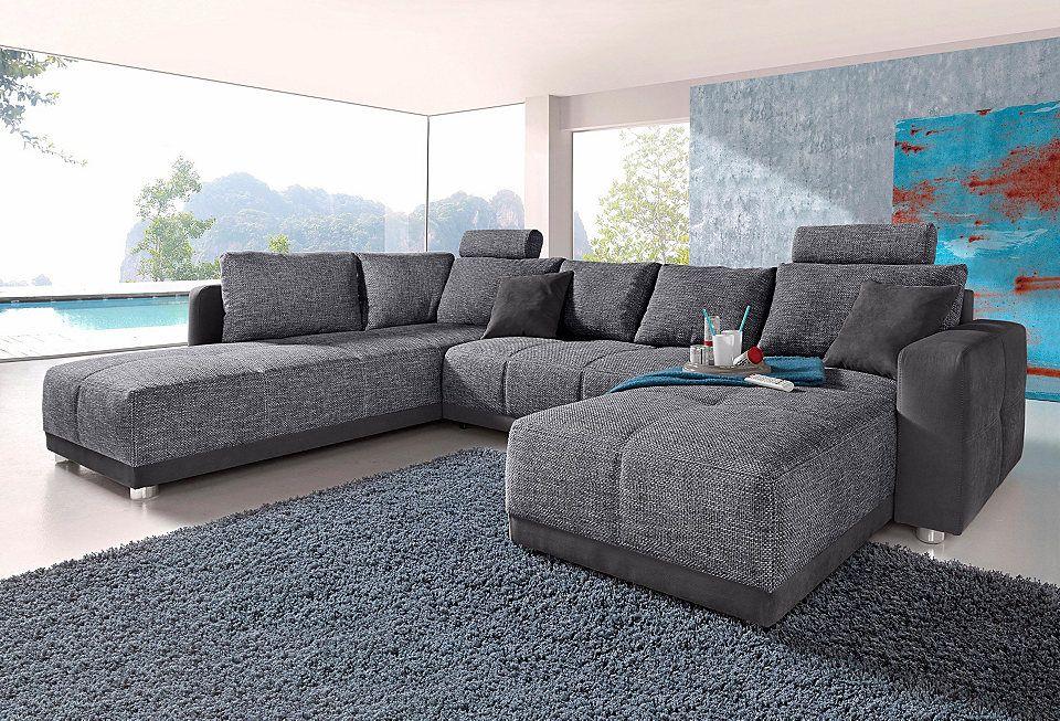 places of style wohnlandschaft mit federkern und bettfunktion pinterest wohnlandschaft. Black Bedroom Furniture Sets. Home Design Ideas