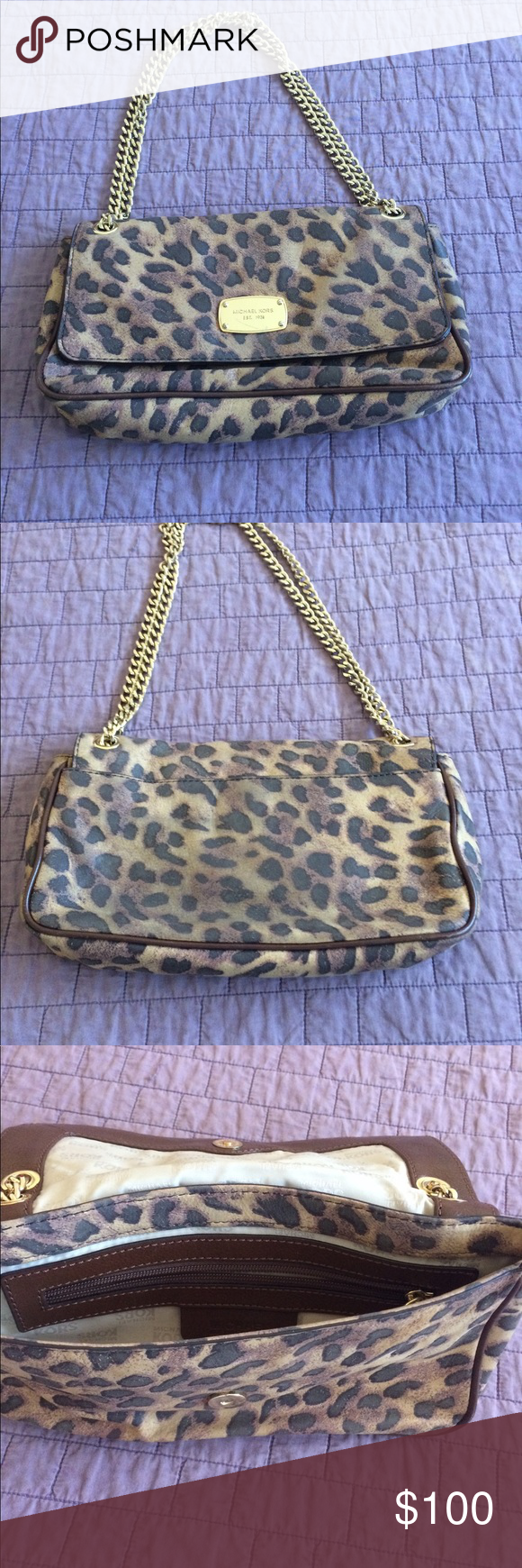 32128c09395a Michael Kors Bag Animal Print Jet Set Chain Small Shoulder Bag 10