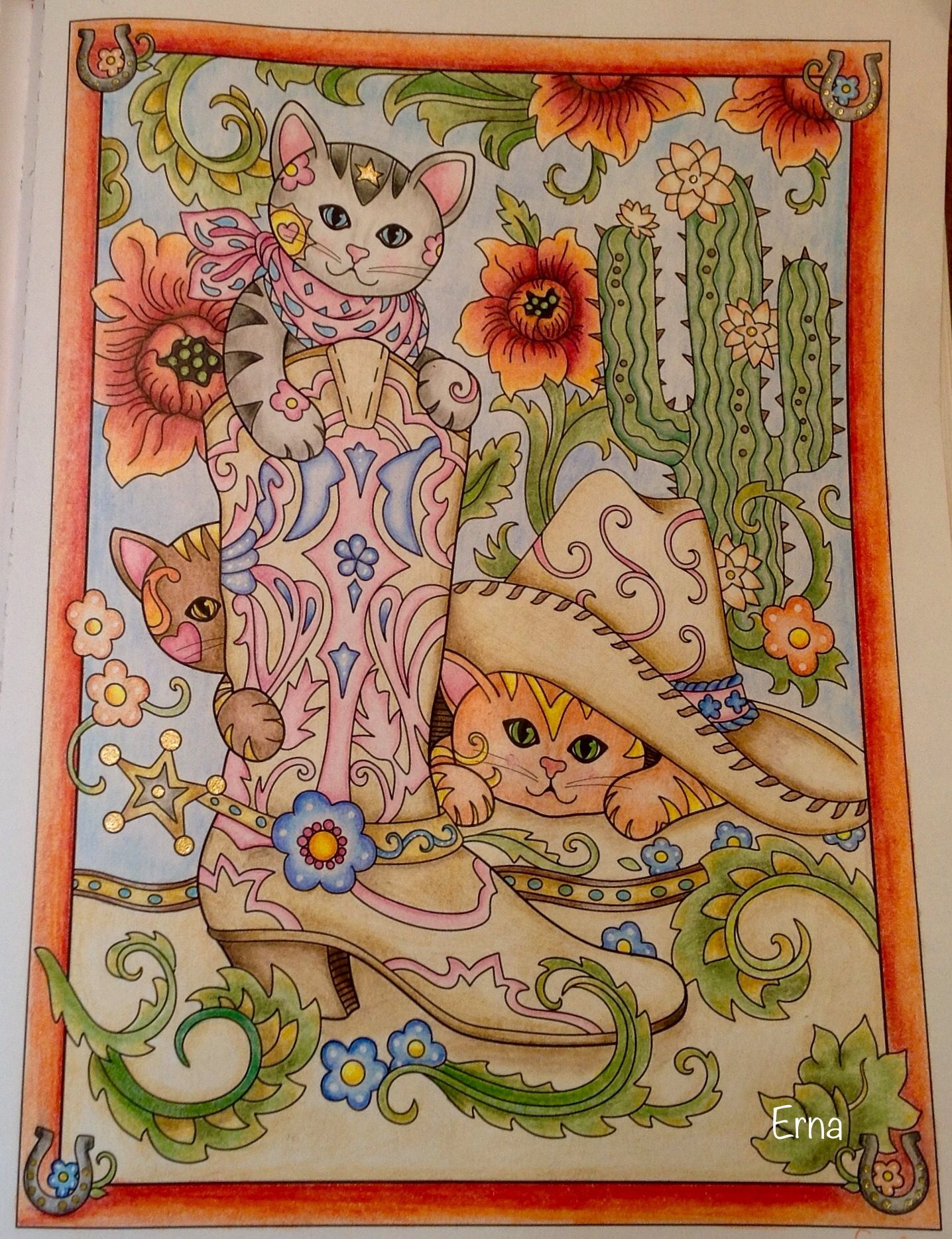 cowboy boot kittens from marjorie sarnat u0027s coloring book