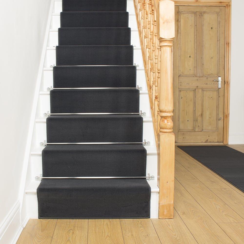 Plain D. Grey Stair Runner Stair runner carpet, Gray