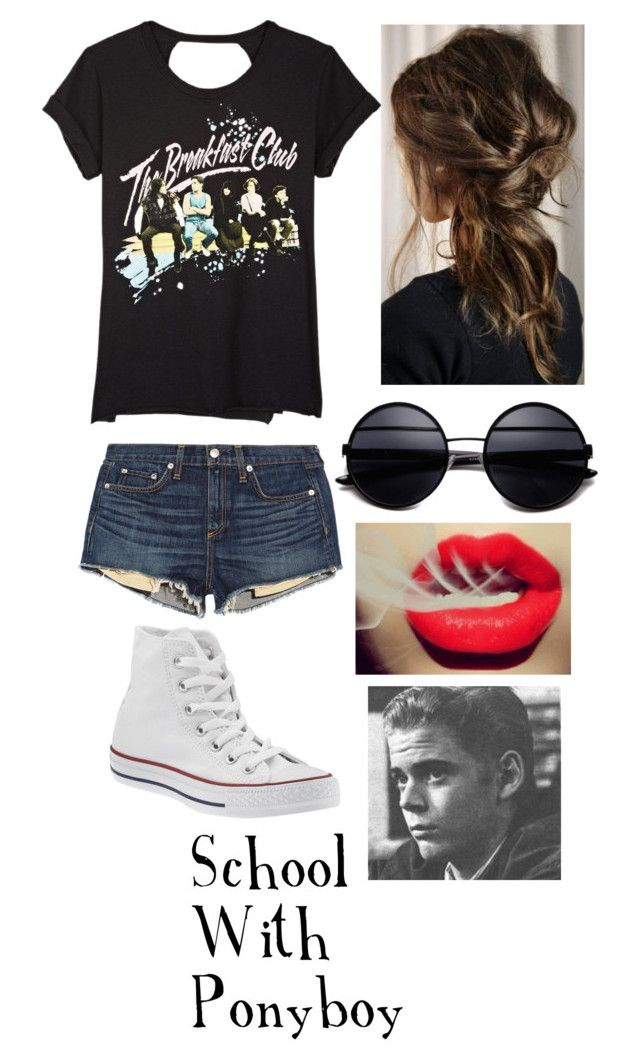 School With Ponyboy...I know The Outsiders came out in '83 and The Breakfast Club in '85 but pretend TBC came first by stay-gold-ponyboy-1 on Polyvore featuring polyvore beauty dELiA*s rag & bone Converse