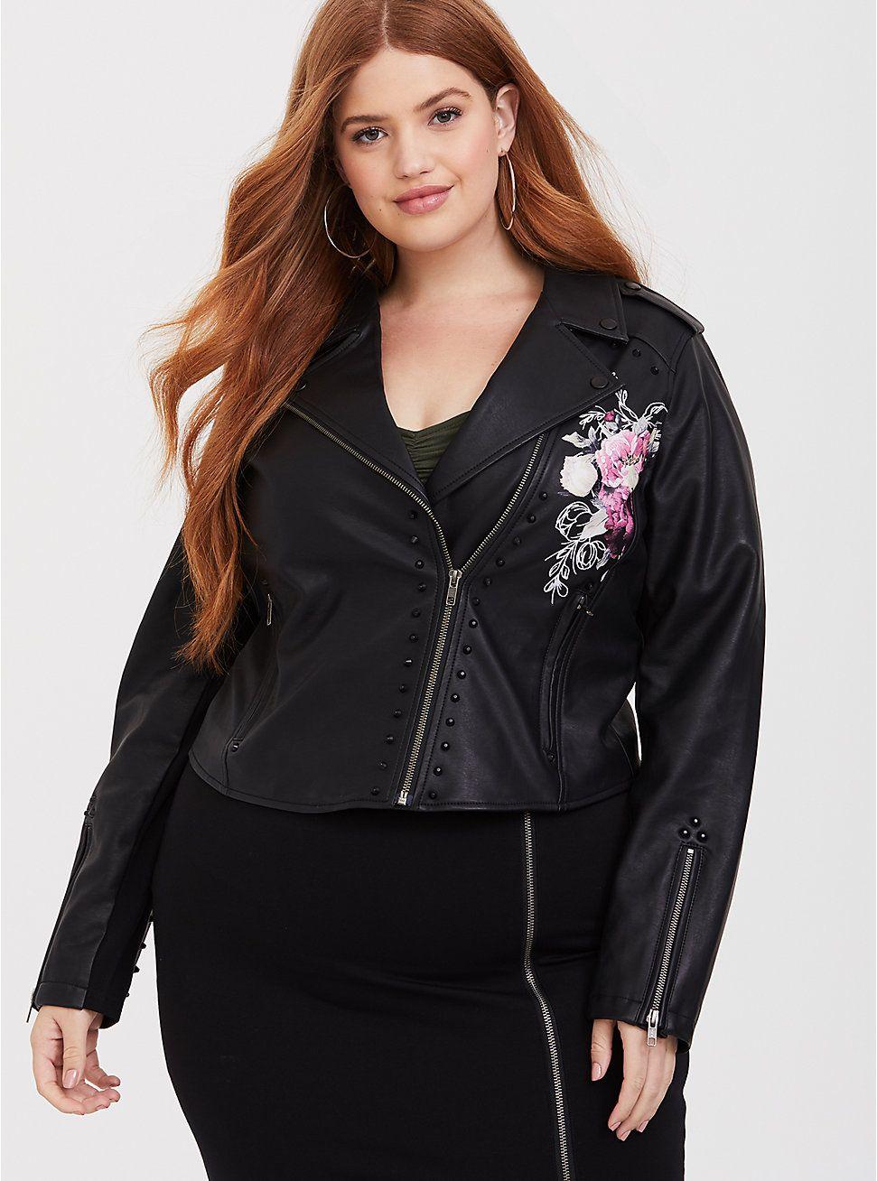 Black Painted Faux Leather Moto Jacket Fashion, Faux