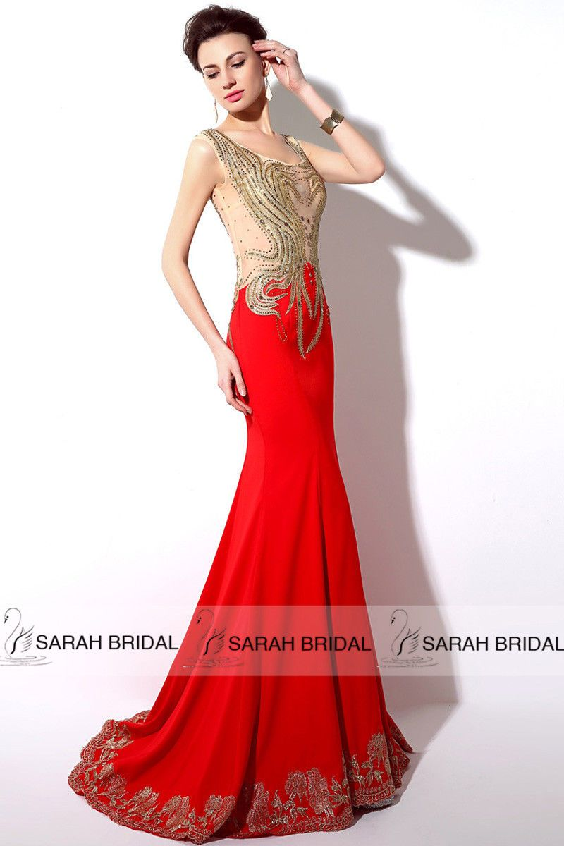 Sheer redblack with gold appliqué mermaid long prom dress cocktail