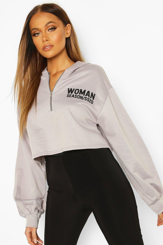 Woman Zip Up Oversized Crop Hoodie Boohoo Cropped Hoodie Hoodie Jacket Women Hoodies [ 1500 x 1000 Pixel ]