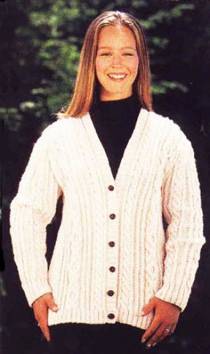 Knitting Patterns For Ladies Cardigans Free : Free Knitting Pattern - Womens Cardigans: Aran Cardigan Sweater Knitti...