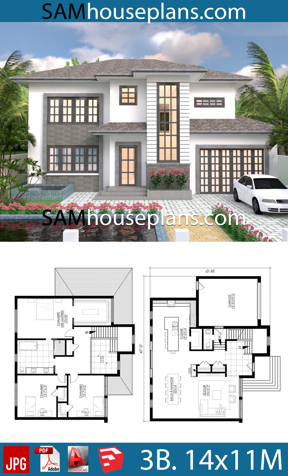 House Plans 14x11 With 3 Bedrooms House Plans Modern House Plans Bedroom House Plans