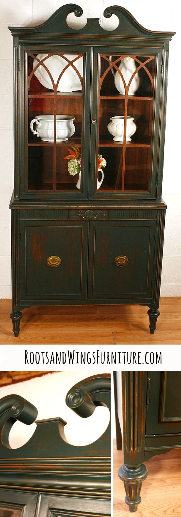 HOLD FOR STELLA Antique Hutch In Hunter Green, China Cabinet, Curio