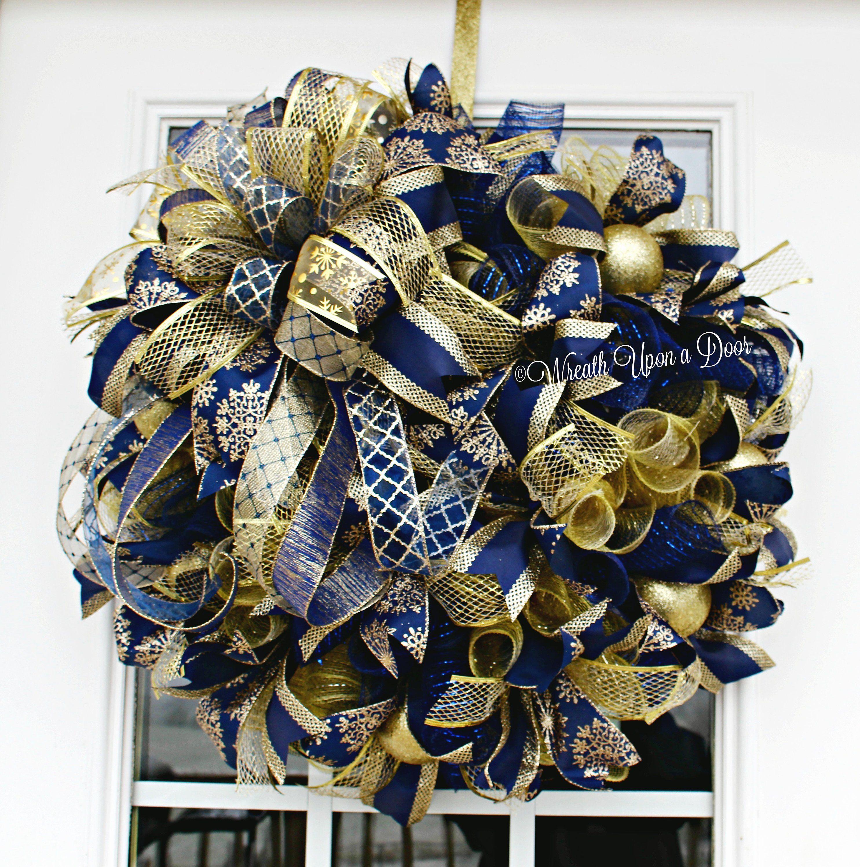 Navy n Gold Wreath Winter Wedding New Year's Wreath | Etsy ...