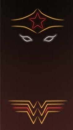 Wonder Woman Tap To See More Superheroes Glow With Neon Light Apple Iphone 6s Superhero Background Wonder Woman Logo Superhero