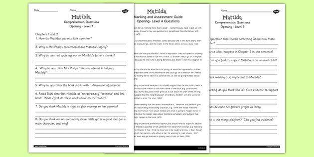 Matilda Levelled Comprehension Worksheets Sumis Pinterest