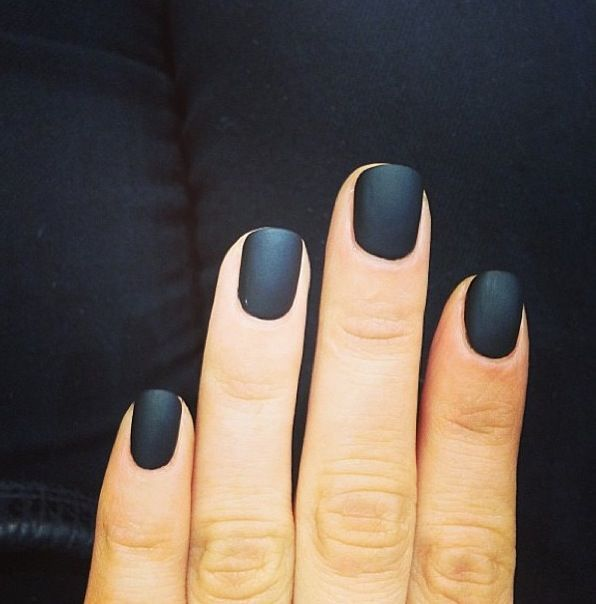 Matte black nails - add cornstarch to nail polish for matte finish ...