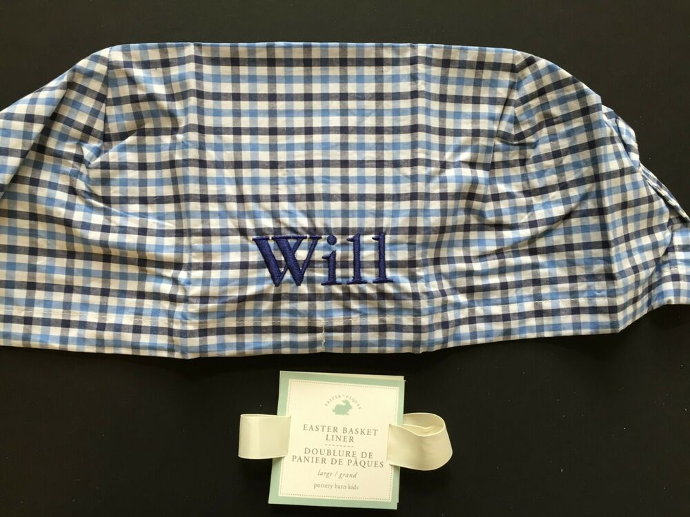 Pottery Barn Kids Blue Plaid Easter Basket Liner Large