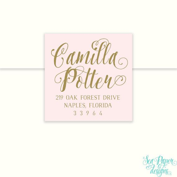 Blush Pink Gold Or Silver Calligraphy Return Address Label