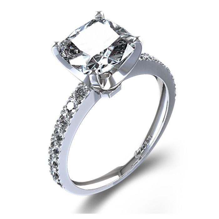Cushion Cut Diamond Band Engagement Ring