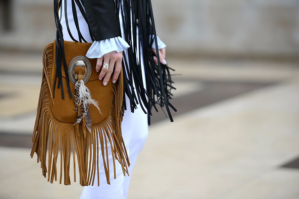 Saint Laurent suede fringe bag  Paris Haute Couture Spring 2015  StreetStyle 679149e960460