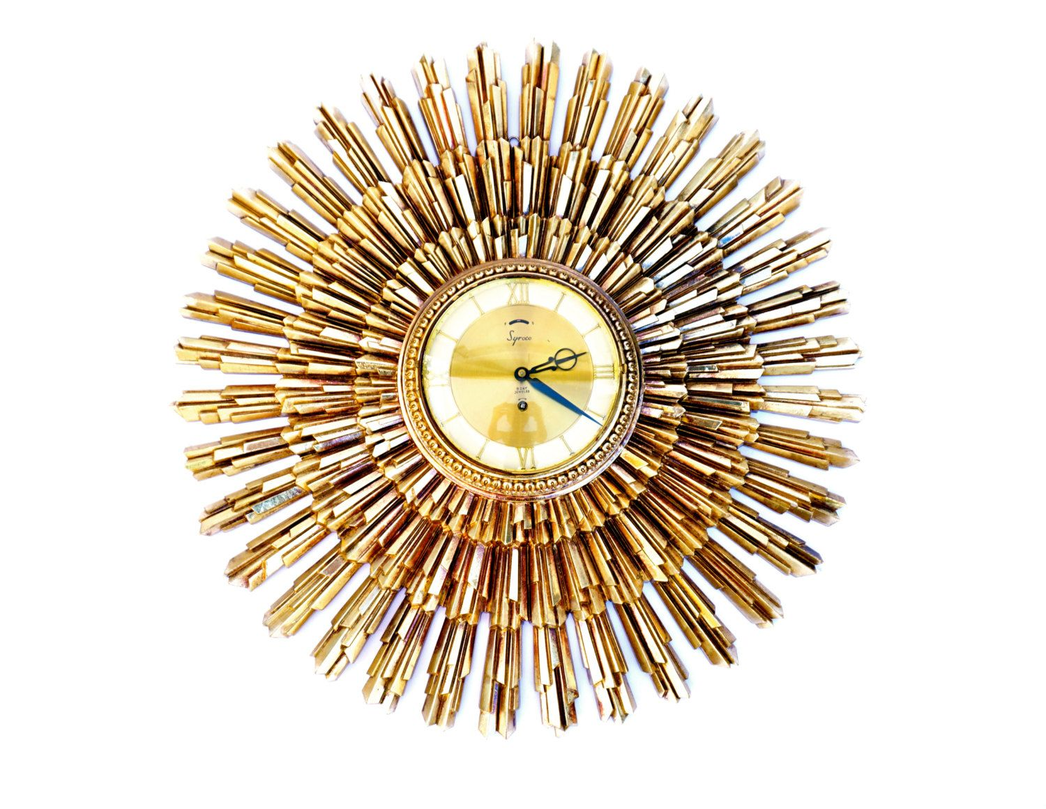 Mid Century Modern Starburst Wall Clock Large Gold E Age Statement Decor Retro Hollywood Regency Syrocowood By Electricmarigold On Etsy