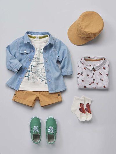 46abe74404  Conjunto de  camisa  vaquera  chambray de  bebé  niño de la colección   primavera 2016