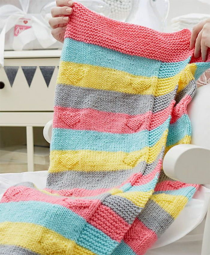 Free Knitting Pattern For Easy Love You Knit Baby Blanket Heart