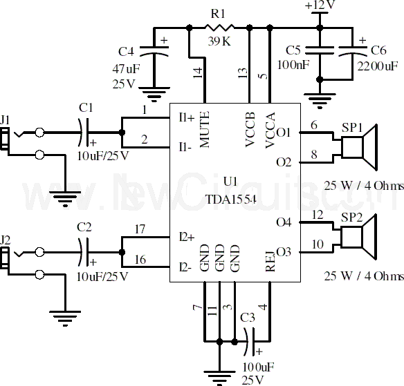 22W Stereo Amplifier Using TDA1554 DIY Electronics