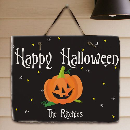 Smiling Pumpkin Slate Plaque | Bellas Personal Gifts