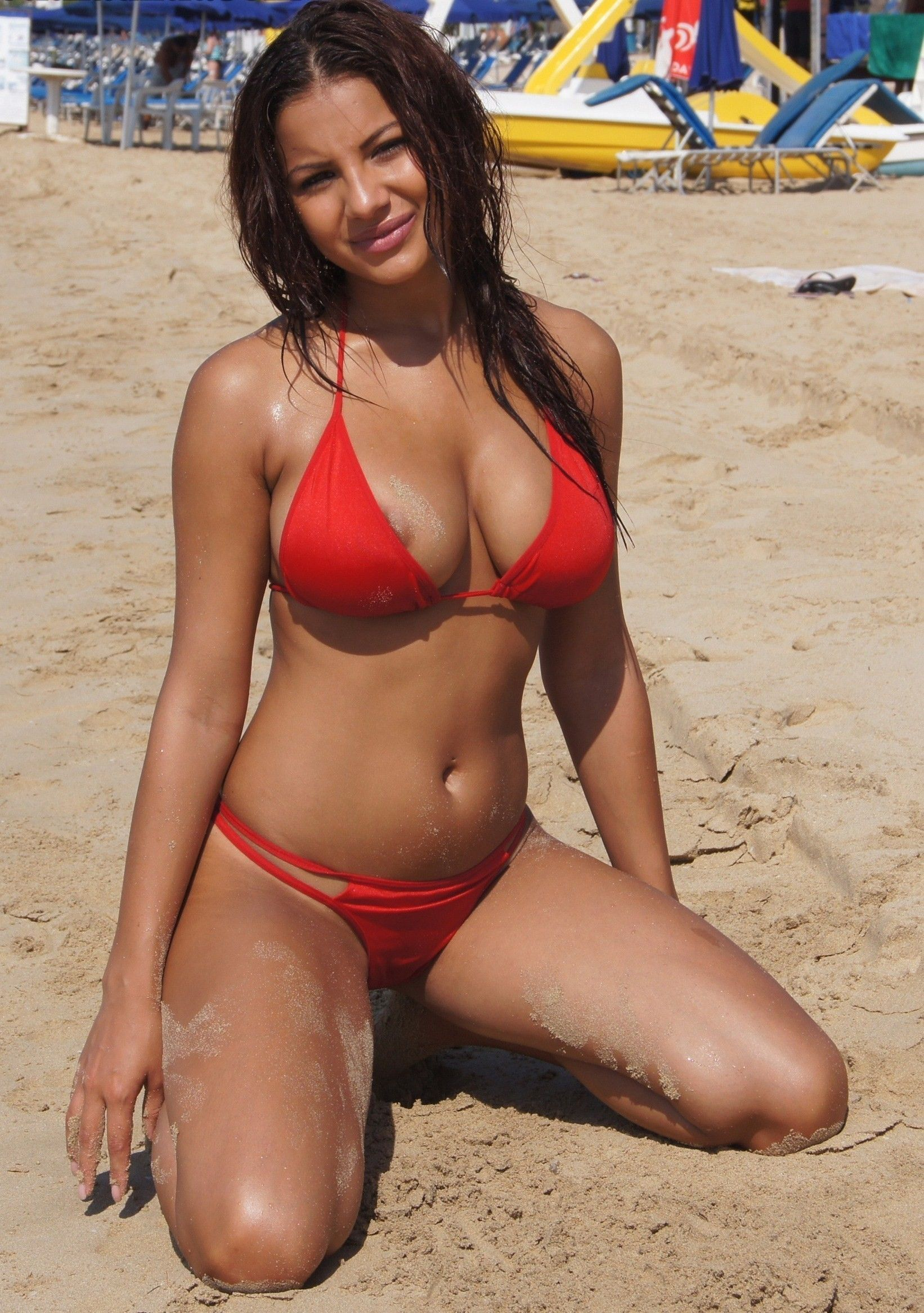 Gorgeous Girl In A Red Bikini