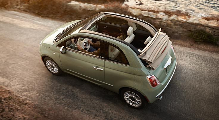 2015 Fiat 500c Pop Convertible Exterior Light Green Interior