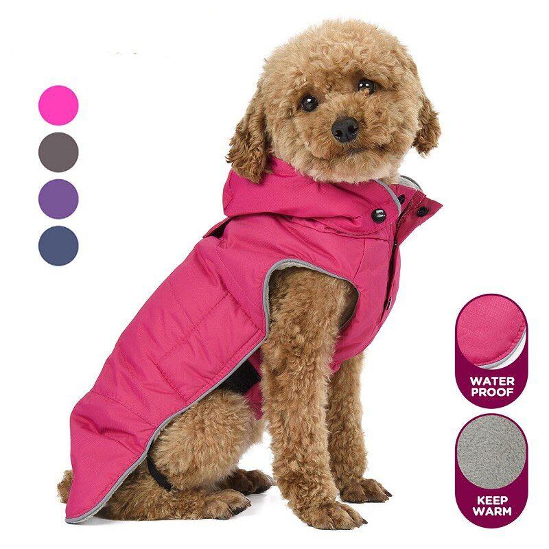 Warm Small Dog Clothes Winter Waterproof Dog Coat Fleece Doggie Hooded Raincoat Pet Clothing Vest Reflective Puppy Jacket Warm Small Dog Clothes Waterproof Dog Coats Dog Coats