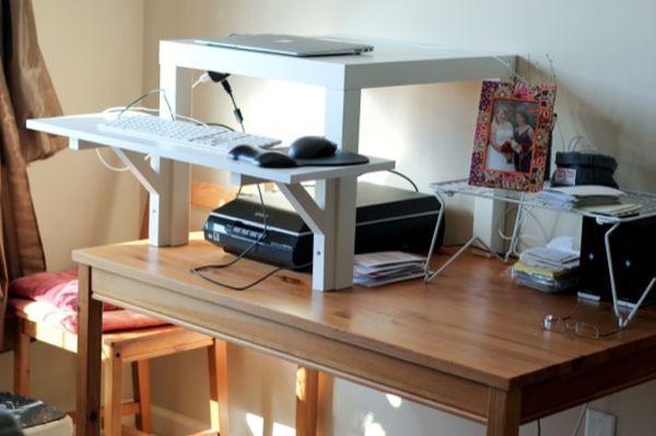 10 Ikea Standing Desk Hacks With Ergonomic Appeal Ikea Standing Desk Simple Standing Desk Standing Desk Hack